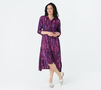 Logo by Lori Goldstein Printed Stretch Woven Button Dress
