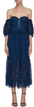 Self-Portrait 'Petrol' Off shoulder lace dress