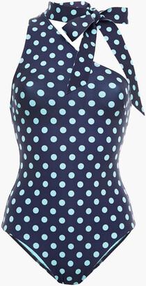Zimmermann One-shoulder Tie-neck Polka-dot Swimsuit