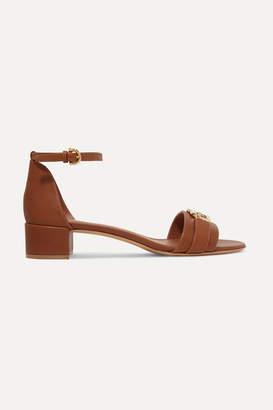 Salvatore Ferragamo Como Embellished Leather Sandals - Tan