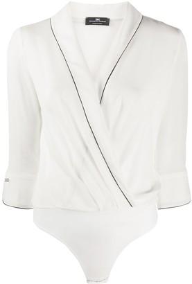 Elisabetta Franchi piping detail silk bodysuit