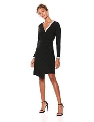 MSK Women's V-Neck Trim Wrap Knit Dress with Silver Cuff