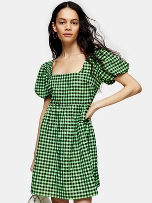 Topshop Gingham Mini Dress - Green