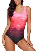 Actloe Womens Tie Dye Ombre Color Block Athleisure Swimsuit One Piece Tummy Control Gradient Swimming Wear Summer Bathingsuits