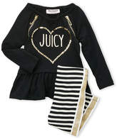 Juicy Couture Infant Girls) Two-Piece Sequin Ruffle Tunic & Stripe Leggings Set