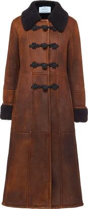 Prada Shearling-Trim Midi Coat