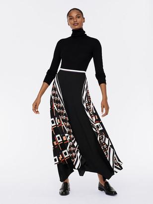 Diane von Furstenberg Reece Crepe Asymmetrical Maxi Skirt