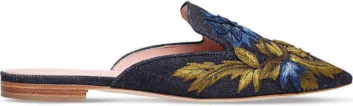 Alberta Ferretti Mia embroidered denim mules