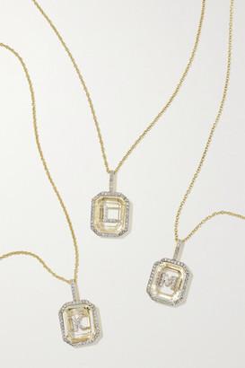 Mateo Initial 14-karat Gold, Quartz And Diamond Necklace - D