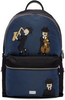 Dolce & Gabbana Black & Blue Nylon Jazz Players Backpack