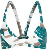 Mikoh Honolulu Cutout Printed Triangle Bikini Top - Army green