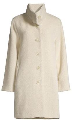 Sofia Cashmere Wool & Alpaca-Blend Funnel Neck Drop Shoulder Peacoat