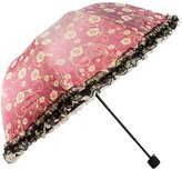 kilofly Floral Arched Folding Parasol Umbrella, Lace Trimming, Sun Protection