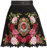 Dolce & Gabbana Floral-embroidered lace mini skirt