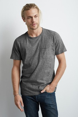 Velvet by Graham & Spencer Chad Charcoal Raw Edge Cotton Slub Pocket Tee