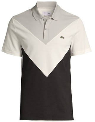 Lacoste Regular-Fit V-Shaped Colorblocking Performance Pique Polo Shirt