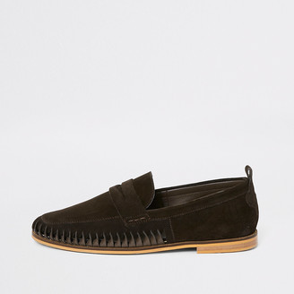 River Island Dark brown suede woven loafers