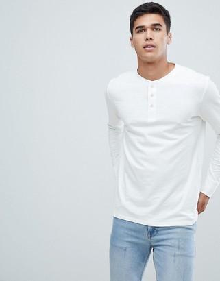 Selected overdye long sleeve henley t-shirt in white