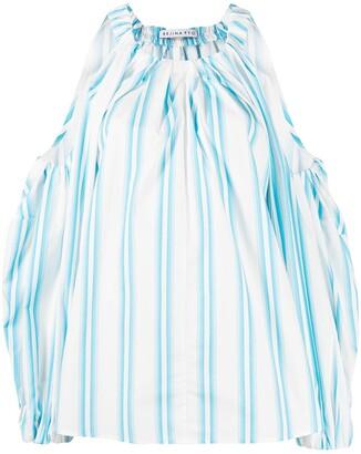 REJINA PYO Stripe-Print Cut-Out Balloon-Sleeved Blouse