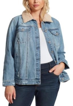 Jessica Simpson Trendy Plus Size Reagan Faux-Fur-Collar Denim Jacket