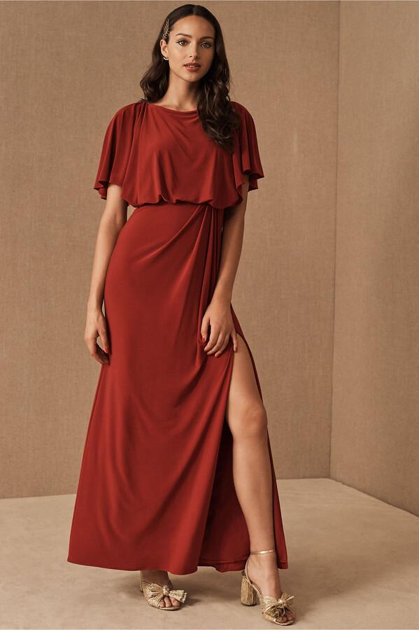 BHLDN Lena Flutter Sleeve Jersey Dress