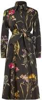 Tomcsanyi Split Wrap Dress Dark Botanical