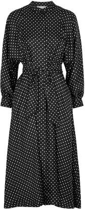 La Prestic Ouiston Raffaella Black Polka-dot Silk Midi Dress