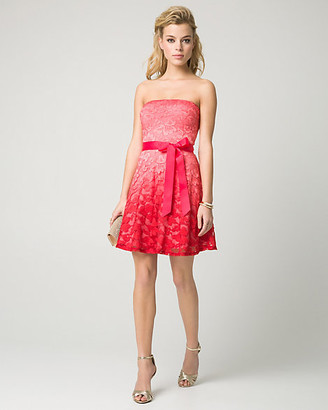 Le Château Ombre Lace Strapless Party Dress