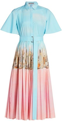 Lela Rose Skyline Pleated Cape-Back Shirtdress
