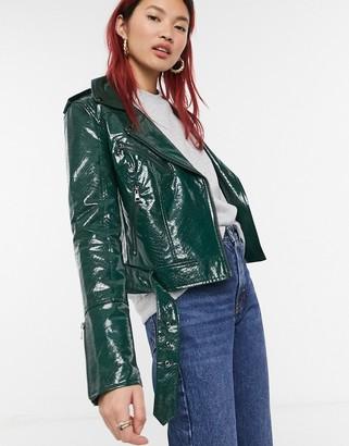 Urban Code Urbancode high shine croc faux leather biker jacket in green
