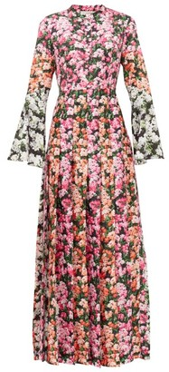 Mary Katrantzou Desmine Pleated Floral-print Twill Maxi Dress - Womens - Pink Multi