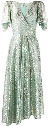 Talbot Runhof Metallic-Thread Wrap Dress