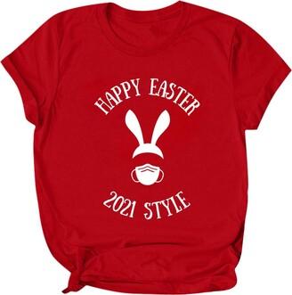 jieGorge Blouse Women Elegant Womens Happy Easter Printed Short Sleeve Tops Blouse T-Shirt