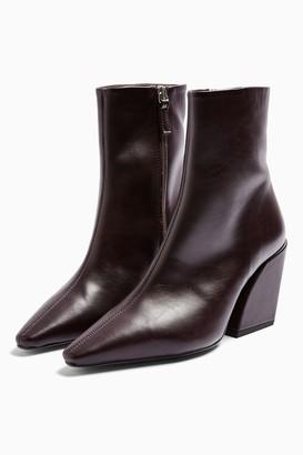 Topshop Womens Considered Valencia Vegan Burgundy Boots - Burgundy
