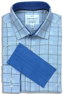 Construct Receive a Free Face Mask with purchase of the Con. Struct Men's Slim-Fit Non-Iron Performance Stretch Blue Box Check Cooling Comfort Dress Shirt