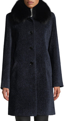 Sofia Cashmere Cocoon Button Coat w/ Fur Collar