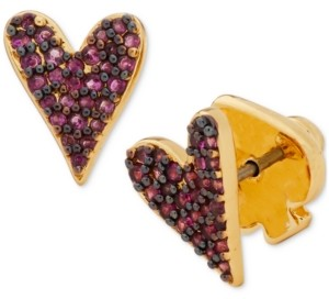 Kate Spade Gold-Tone Colored Pave Heart Stud Earrings