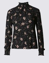 Marks and Spencer PETITE Floral Print Long Sleeve Blouse