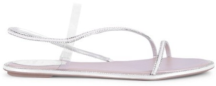 Rene Caovilla Embellished Vinyl Satin Slingback Sandals