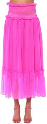 MSGM Silk Crepe Midi Skirt