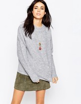 Free People Bubble Crew Neck Sweater In Gray
