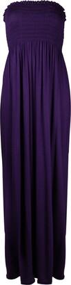 Purple Hanger New Womens Plain Long Strapless Elasticated Shearing Ladies Bandeau Shirred Boob Tube Summer Maxi Dress Black Size 8 - 10