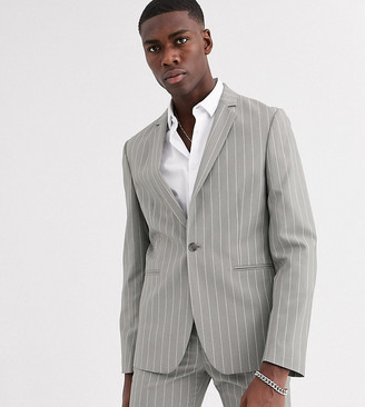 ASOS DESIGN Tall skinny suit jacket in soft gray pinstripe