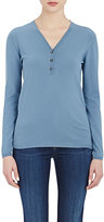 Barneys New York Women's Henley Sweater-BLUE