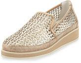 Donald J Pliner Maze Woven Leather Slip-On Sneaker, Light Bronze