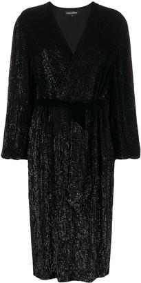 retrofete Glittered Wrap Style Midi Dress