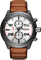 Diesel Men's Chronograph Padlock Brown Leather Strap Watch 50mm DZ4438