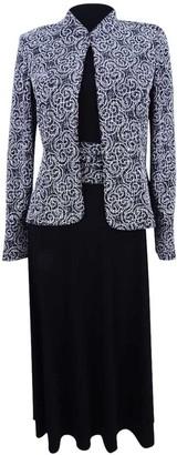 Jessica Howard JessicaHoward Women's Petite 3/4 Sleeve Mandarin Collar Jacket with Sleeveless Ruched Waist Dress