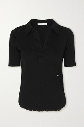 Helmut Lang Ribbed Cotton Polo Shirt - Black
