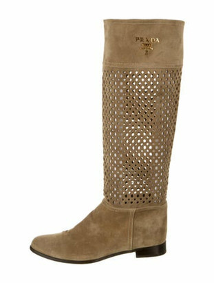 Prada Suede Cutout Accent Riding Boots